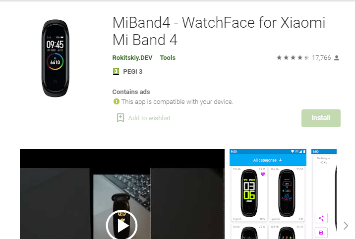 WatchFace for Xiaomi Mi Band 4