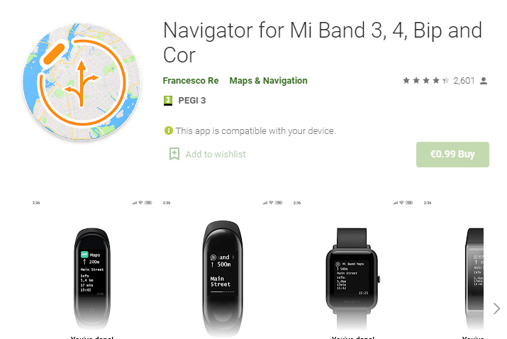 Navigator for Mi Band 3, 4, Bip, and Cor