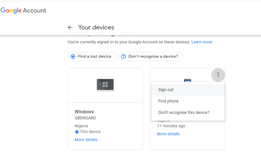 Disconnecting a Device from a Google Account