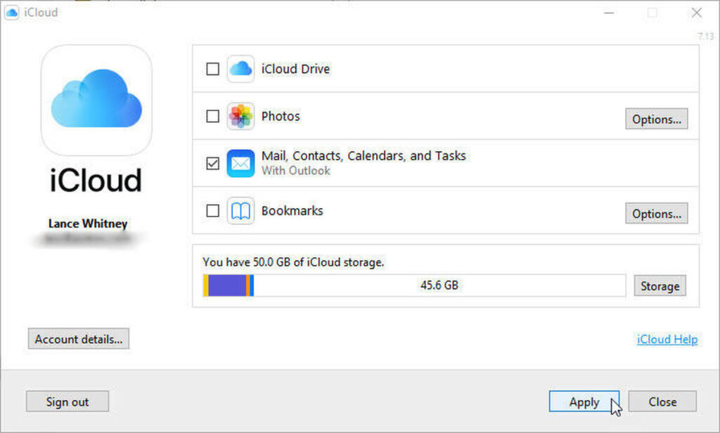 iCloud mail, contacts, calendars, and tasks