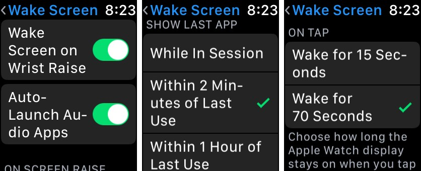 Deactivate the wake-up screen option when lifting the wrist