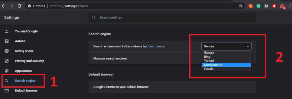 Set default search engine on chrome