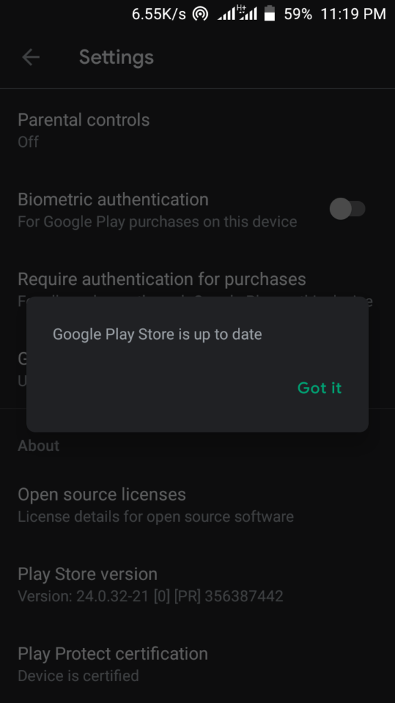 Play store up to date