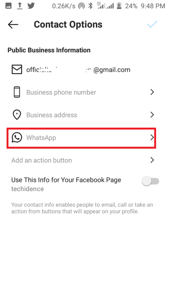 Add WhatsApp to your Instagram Profile