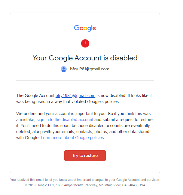 disabled google account